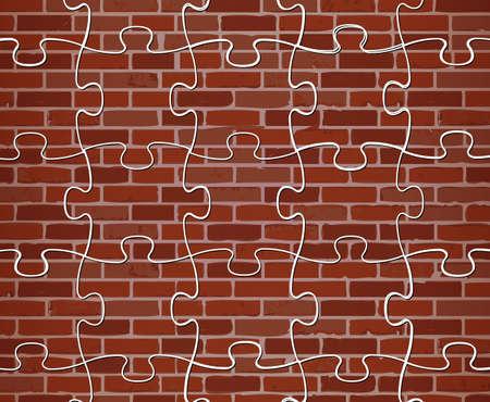 colorful puzzle brick wall illustration design background