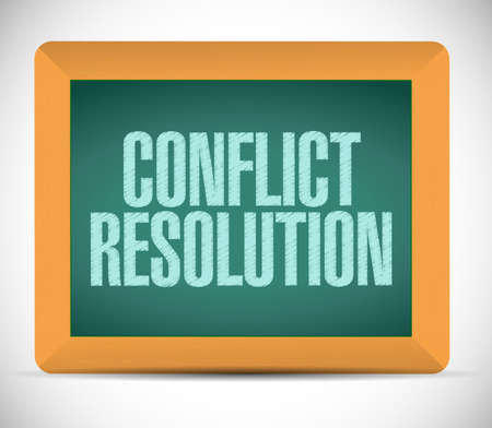 conflict resolution sign message illustration design over a white background