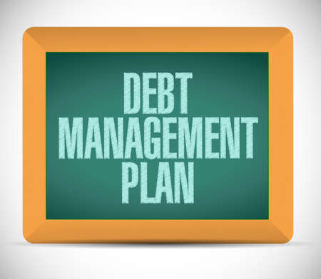 debt management: debt management plan sign illustration design over a white background