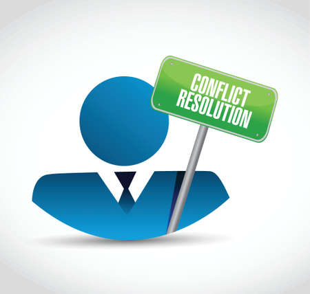 settlement: conflict resolution sign and avatar. illustration design over a white background Stock Photo