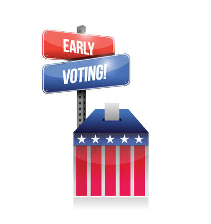 polling: early voting ballot illustration design over a white background