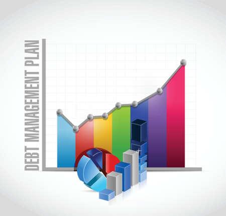 debt management: debt management plan business graph iillustration design over a white background Stock Photo
