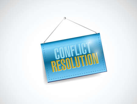 resolved: conflict resolution hanging banner illustration design over a white background Stock Photo
