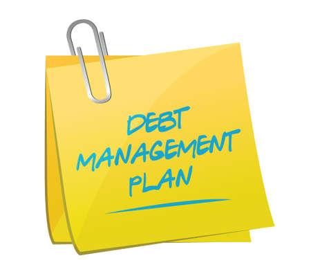debt management: debt management plan memo post illustration design over a white background