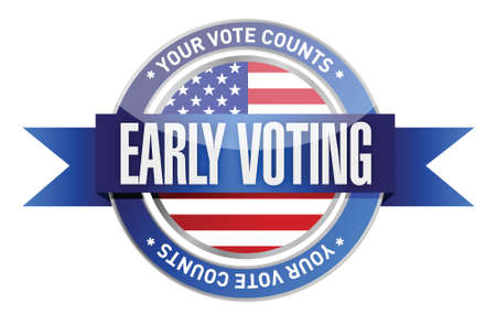 early voting seal illustration design over a white background