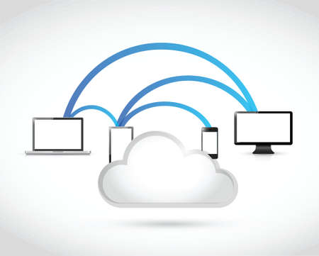 electronics link connection and cloud illustration design over a white background
