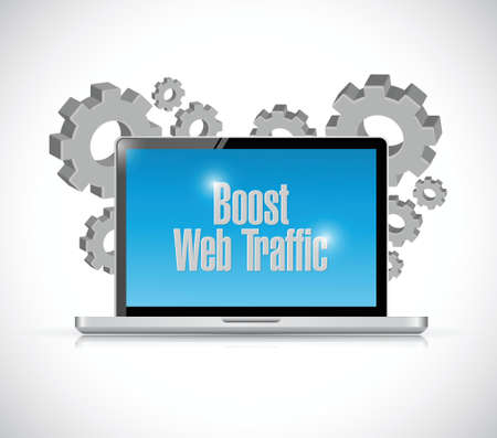 computer graphic: boost web traffic computer and gears. illustration design over a white background