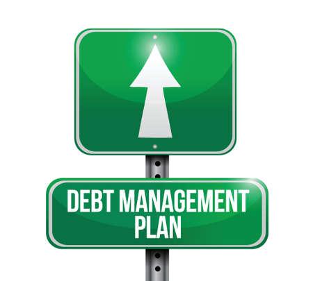 debt management: debt management plan sign illustration design over a white background