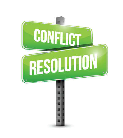mediation: conflict resolution street sign illustration design over a white background