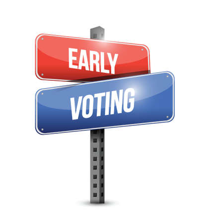 polling: early voting sign illustration design over a white background