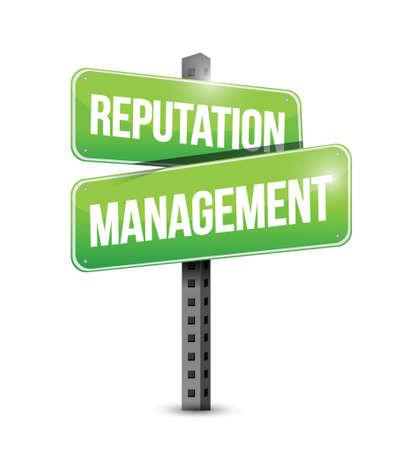 creditors: reputation management sign illustration design over a white background