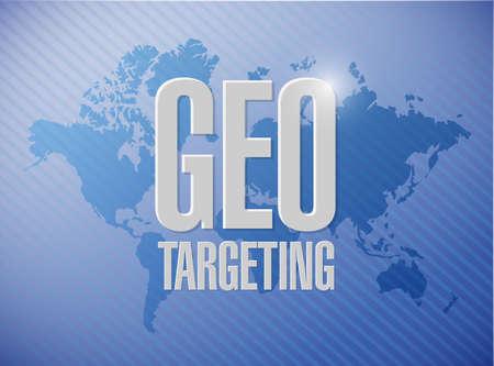 geo targeting sign illustration design over a world map background illustration
