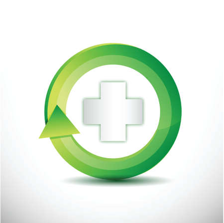 green medical rotating cycle illustration design over a white background illustration