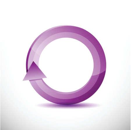cíclico: púrpura rotatoria diseño ilustración ciclo sobre un fondo blanco
