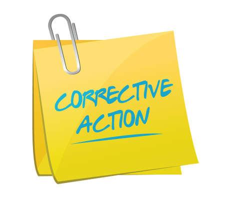 corrective: corrective action post memo illustration design over a white background