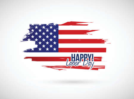 flair: labor day holiday flag sign illustration design over a white background