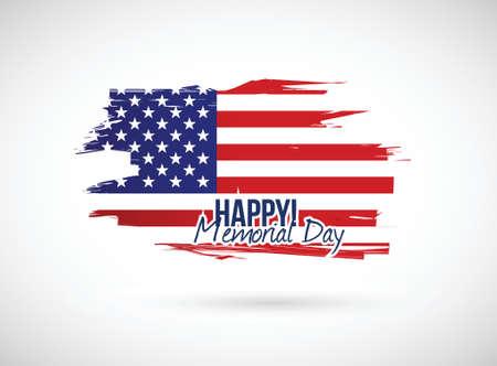 memorial day holiday flag sign illustration design over a white background illustration
