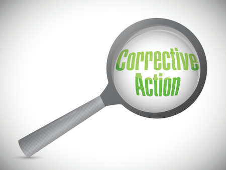 investigate: corrective action under a magnify glass. illustration design over a white background