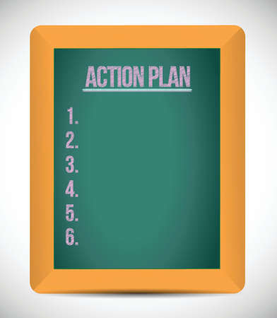 the list plan: action plan check list on a board. illustration design over a white background