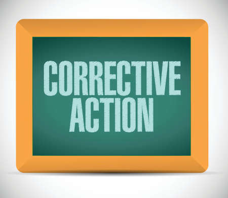 corrective: corrective action sign message illustration design over a white background
