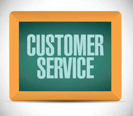 communicative: customer service sign on a board. illustration design over a white background