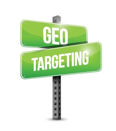 geo targeting street sign illustration design over a white background illustration