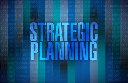 goal setting: strategic planning sign illustration design over a binary background