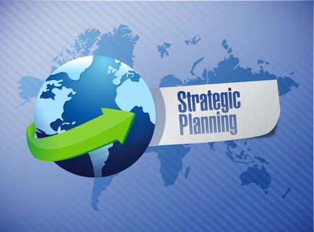 strategic planning globe sign illustration design over a world map background