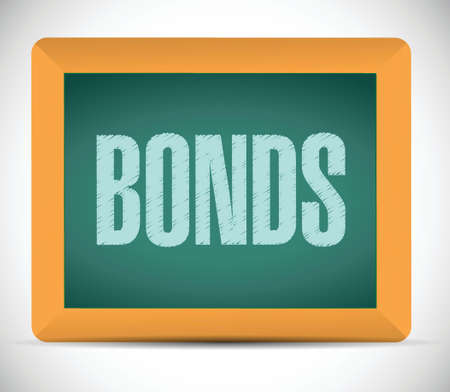 installment: bonds sign on a board. illustration design over a white background Stock Photo