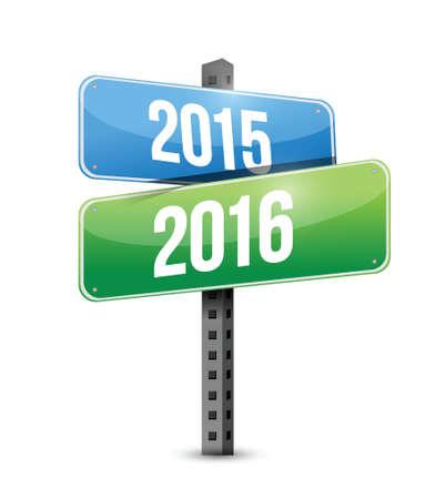 2015, 2016 straatnaambord illustratie ontwerp op een witte achtergrond