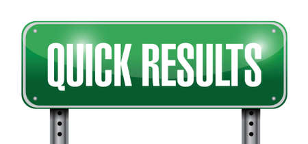 reasonable: quick results sign illustration design over a white background Stock Photo