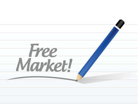 gönüllü: beyaz bir arka plan üzerinde serbest piyasa mesajı illüstrasyon tasarımı