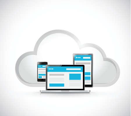 responsive design: web responsive cloud computing network. illustration design over a white background Illustration