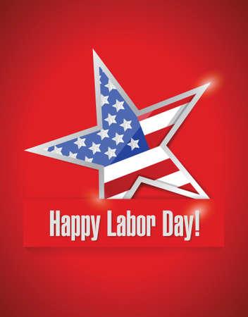 幸せな労働者の日イラストが赤背景にデザインします。