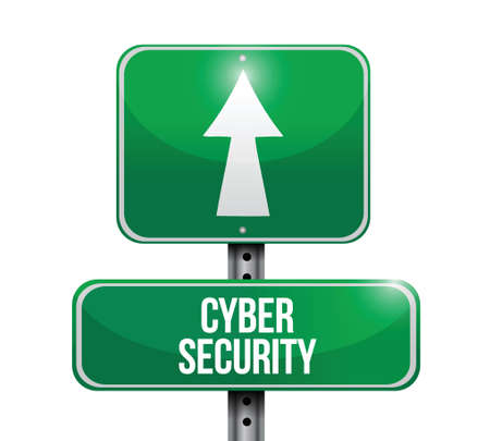 cyber security: cyber security road sign illustration design over a white background