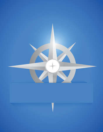 compass rose: compass inside a paper pocket. illustration design over a blue background