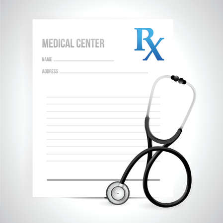 prescription and stethoscope illustration design over a white background