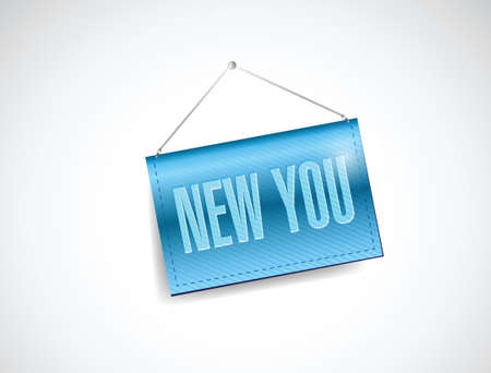 new beginnings: new you hanging banner illustration design over a white background