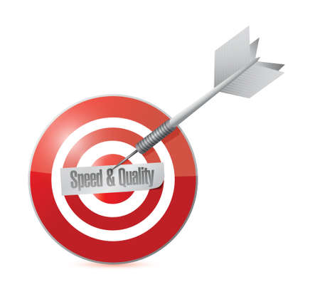high speed: speed and quality target illustration design over a white background