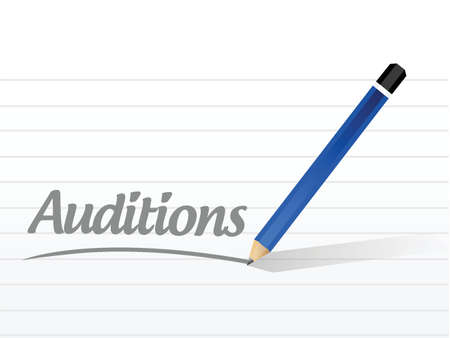 film role: auditions message illustration design over a white background