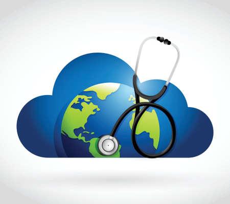 nuage monde et d'un stéthoscope, illustrations conception sur un fond blanc