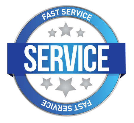 competent: fast service seal illustration design over a white background