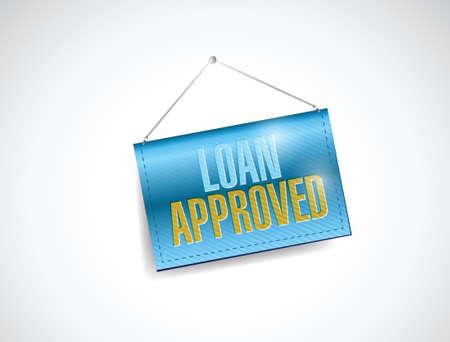 market place: loan approved hanging banner illustration design over a white background Illustration