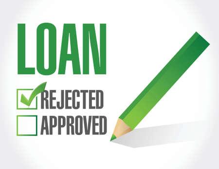 market place: loan rejected check list illustration design over a white background