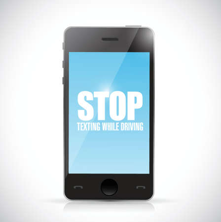 texting: stop texting while driving phone. illustration design over a white background Illustration