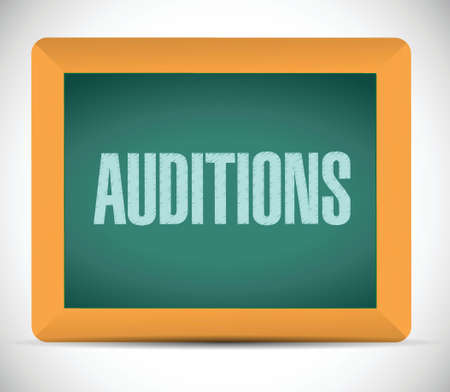 film role: auditions sign on a board illustration design over a white background