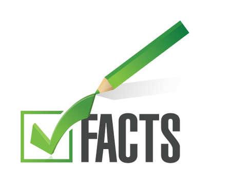 evidence: facts checkmark illustration design over a white background Illustration