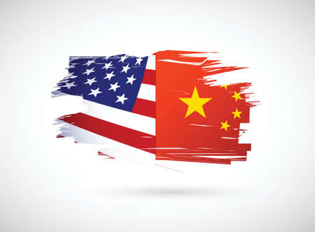 american history: usa and china illustration design over a white background