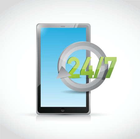 tablet 24 7 service illustration design over a white background Vector