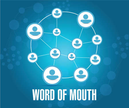 word of mouth: word of mouth people network illustration design over a blue background